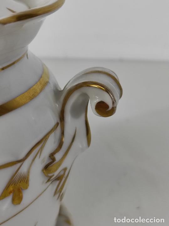 Antigüedades: Preciosa Pequeña Sopera Isabelina - Porcelana Dorada - con Plato - S. XIX - Foto 7 - 230831275