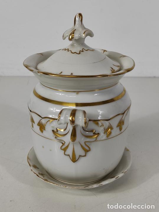 Antigüedades: Preciosa Pequeña Sopera Isabelina - Porcelana Dorada - con Plato - S. XIX - Foto 10 - 230831275