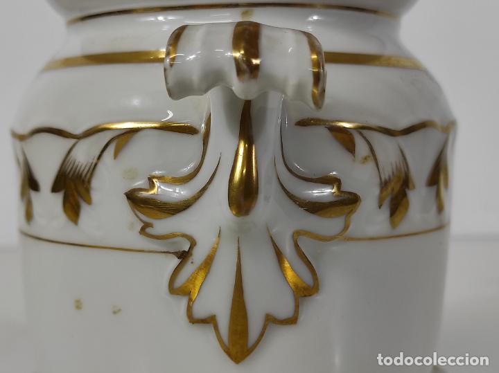 Antigüedades: Preciosa Pequeña Sopera Isabelina - Porcelana Dorada - con Plato - S. XIX - Foto 11 - 230831275