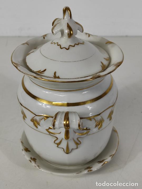 Antigüedades: Preciosa Pequeña Sopera Isabelina - Porcelana Dorada - con Plato - S. XIX - Foto 13 - 230831275