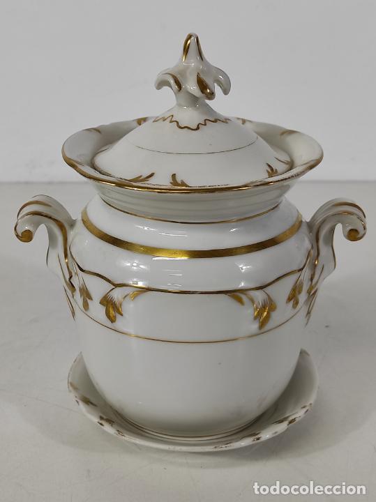 Antigüedades: Preciosa Pequeña Sopera Isabelina - Porcelana Dorada - con Plato - S. XIX - Foto 14 - 230831275