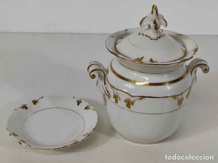 Antigüedades: Preciosa Pequeña Sopera Isabelina - Porcelana Dorada - con Plato - S. XIX - Foto 18 - 230831275