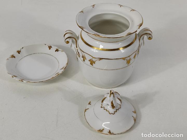 Antigüedades: Preciosa Pequeña Sopera Isabelina - Porcelana Dorada - con Plato - S. XIX - Foto 19 - 230831275