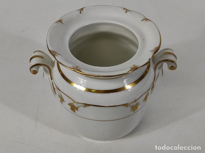 Antigüedades: Preciosa Pequeña Sopera Isabelina - Porcelana Dorada - con Plato - S. XIX - Foto 23 - 230831275