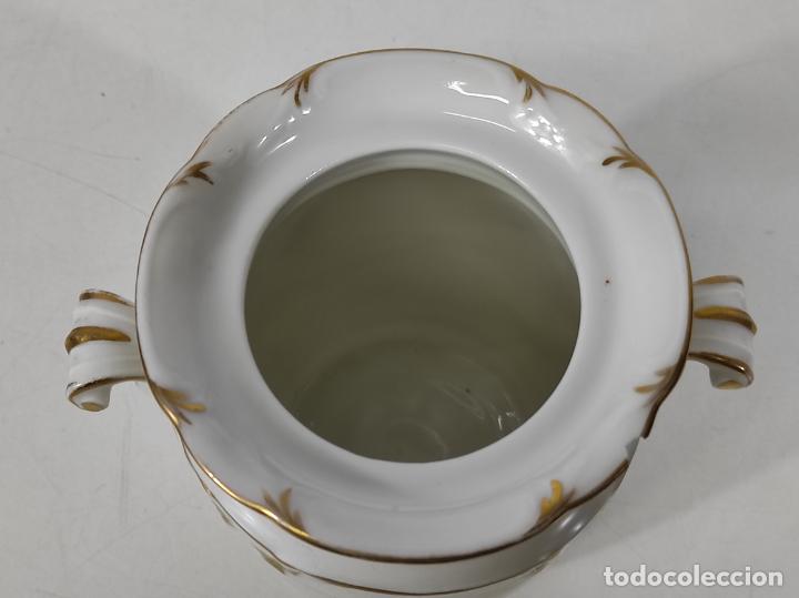 Antigüedades: Preciosa Pequeña Sopera Isabelina - Porcelana Dorada - con Plato - S. XIX - Foto 24 - 230831275