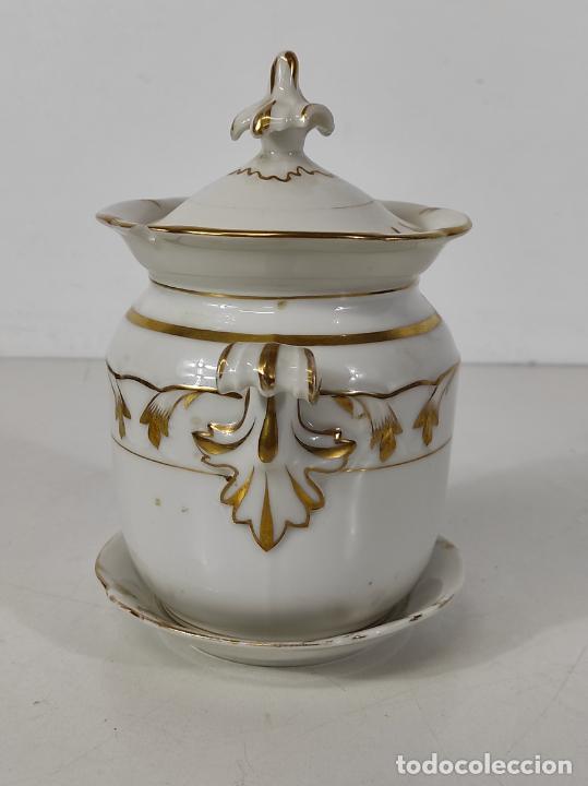 Antigüedades: Preciosa Pequeña Sopera Isabelina - Porcelana Dorada - con Plato - S. XIX - Foto 26 - 230831275
