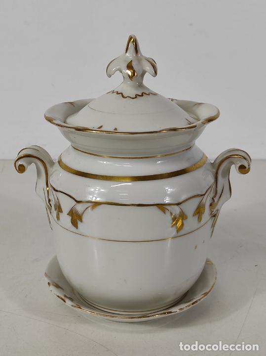 Antigüedades: Preciosa Pequeña Sopera Isabelina - Porcelana Dorada - con Plato - S. XIX - Foto 27 - 230831275