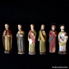 Antigüedades: SEIS APÓSTOLES TALLADOS EN MADERA SIGLO XIX. Lote 231015230