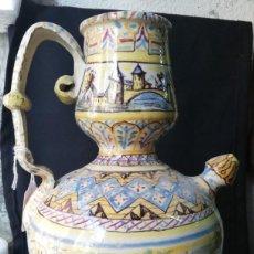 Antigüedades: RARO BOTIJO EN CERÁMICA DE TRIANA S. XIX. Lote 231028555