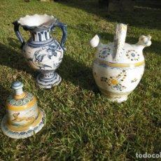 Antigüedades: CERAMICA DE TALAVERA ANTIGUA: JARRA, BOTIJO Y CAMPANA. Lote 231144470