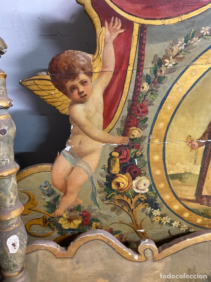 Antigüedades: *CAMA DE OLOT DE MADERA POLICROMADA. S.XVIII. CON CABEZAL, TRAVESAÑOS, Y TORNILLOS. - Foto 2 - 231154765