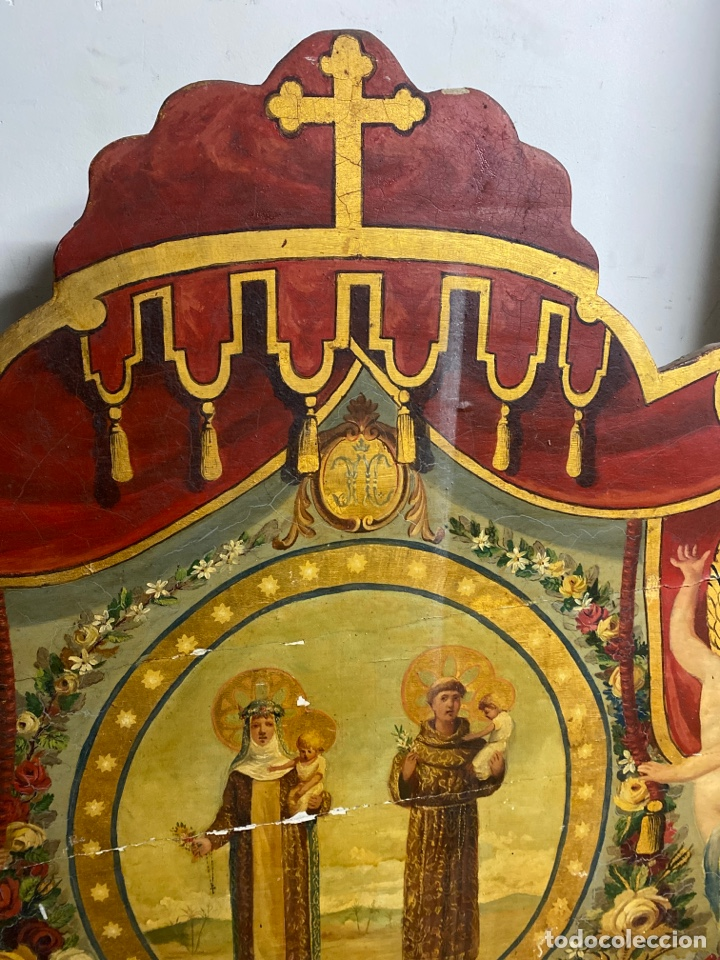 Antigüedades: *CAMA DE OLOT DE MADERA POLICROMADA. S.XVIII. CON CABEZAL, TRAVESAÑOS, Y TORNILLOS. - Foto 5 - 231154765