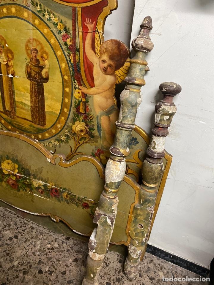 Antigüedades: *CAMA DE OLOT DE MADERA POLICROMADA. S.XVIII. CON CABEZAL, TRAVESAÑOS, Y TORNILLOS. - Foto 6 - 231154765