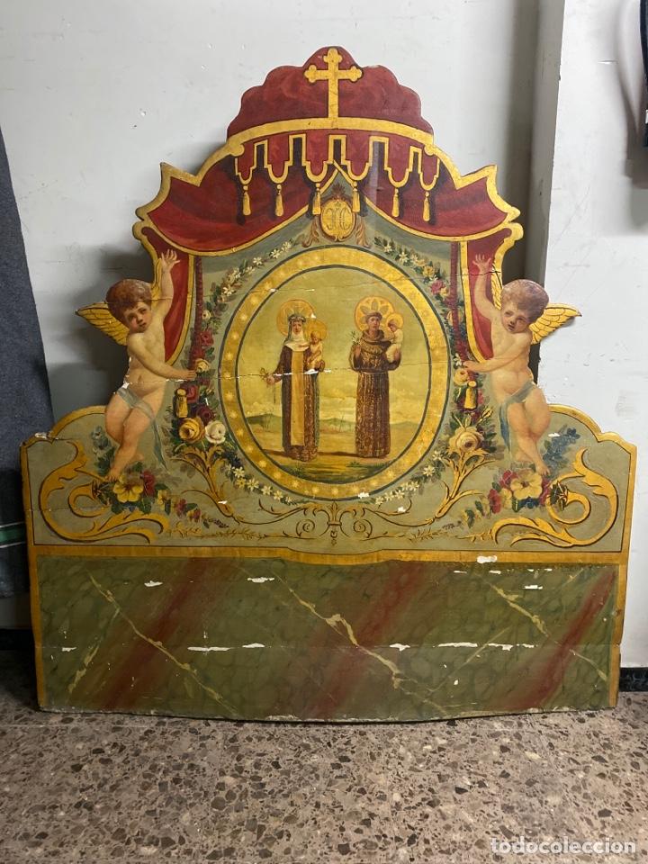 Antigüedades: *CAMA DE OLOT DE MADERA POLICROMADA. S.XVIII. CON CABEZAL, TRAVESAÑOS, Y TORNILLOS. - Foto 7 - 231154765