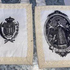 Oggetti Antichi: ESCAPULARIO ANTIGUO BORDADO DE NUESTRA SEÑORA DE LAS MERCEDES DE 12 CMS. DE ALTO X 6 DE LARGO. Lote 231193255