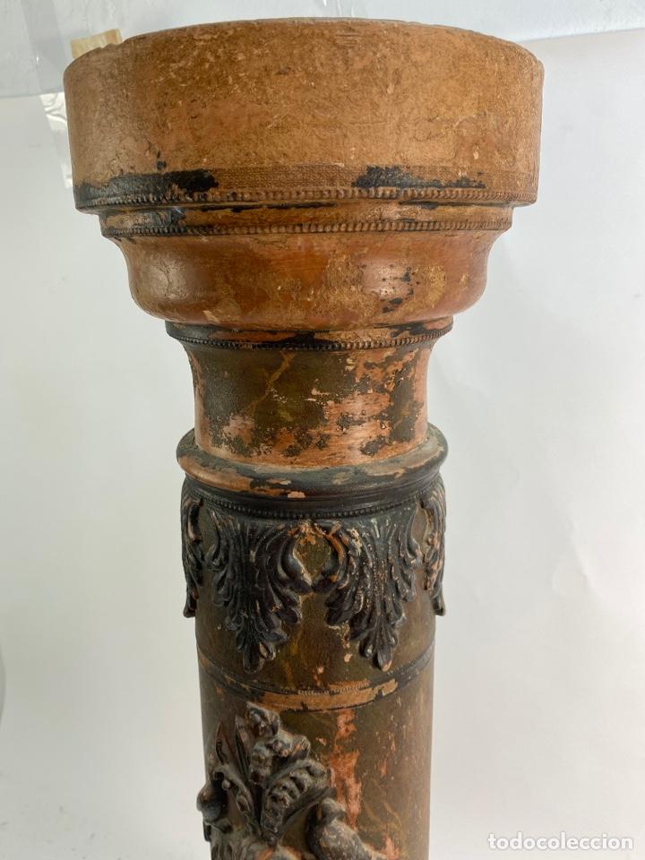 Antigüedades: COLUMNA EN TERRACOTA, CON FIGURA DE QUERUBIN. FINALES SIGLO XIX. - Foto 3 - 231196920