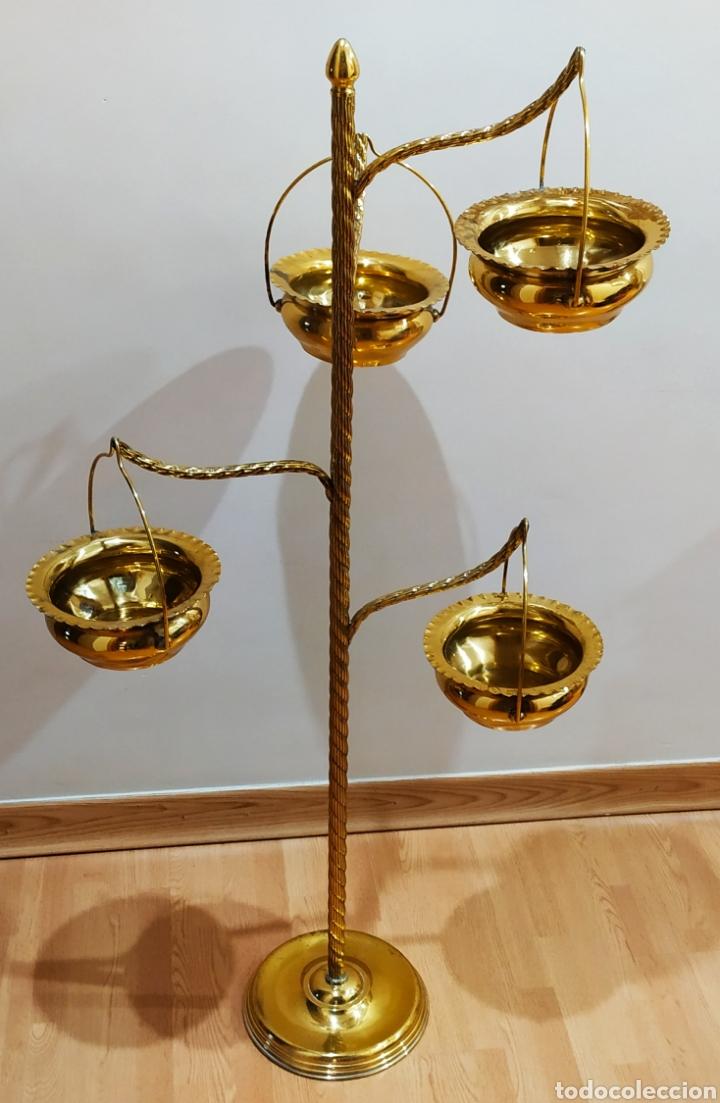 Antigüedades: Macetero con Pie; Brazos de Latón y Metal Dorado; 4 maceteros. - Foto 5 - 231201950