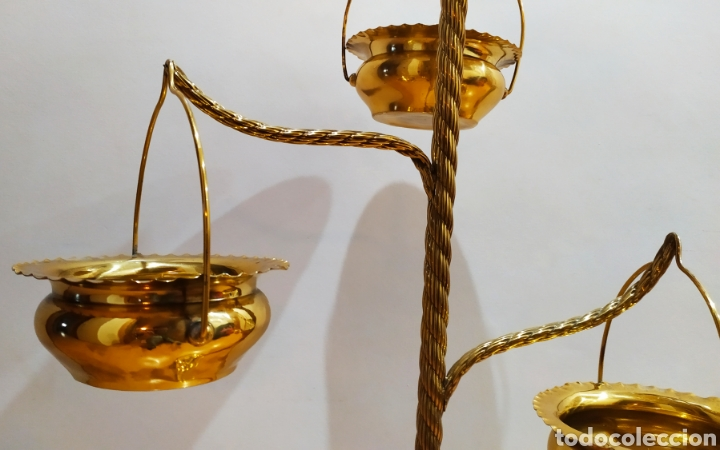 Antigüedades: Macetero con Pie; Brazos de Latón y Metal Dorado; 4 maceteros. - Foto 10 - 231201950