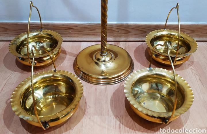 Antigüedades: Macetero con Pie; Brazos de Latón y Metal Dorado; 4 maceteros. - Foto 17 - 231201950