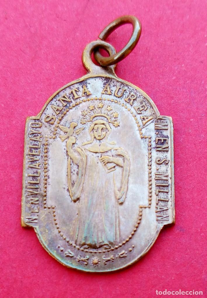 MEDALLA SIGLO XIX SANTA AUREA VILLAVELAYO VIRGEN VALVANERA. RIOJA. MUY RARA. (Antigüedades - Religiosas - Medallas Antiguas)