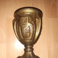 Antiquités: ANTIGUA COPA CALIZ REALIZADA EN BRONCE LABRADO. VER DESCRIPCIÓN. Lote 231335680