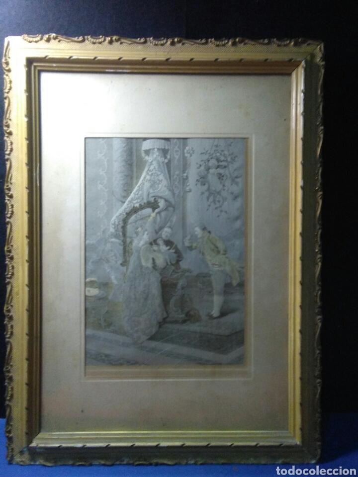 ANTIGUO CUADRO TAPIZ SEDA ,ESCENA PALACIEGA ,SIGLO XIX (Antigüedades - Hogar y Decoración - Tapices Antiguos)