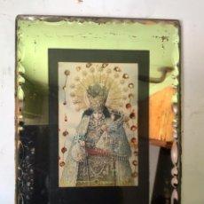 Antigüedades: ANTIGUO RELICARIO VIRGEN DESAMPARADOS -ENMARCADO EN ESPEJO , 1900. Lote 231394280