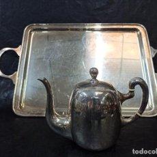 Antigüedades: BANDEJA DE SERVICIO Y TETERA DE ALPACA. C3. Lote 231582060
