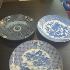 Antigüedades: LOTE DE 3 ESPECTACULARES PLATOS PORCELANA JAPONESA IMARI DE 30 CM DE DIÁMETRO. Lote 231600145