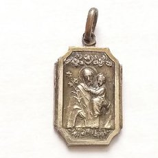 Antigüedades: ANTIGUA MEDALLA COLGANTE SAN JOSÉ Y EL NIÑO JESÚS. 1,5 CM DE LARGO. Lote 231875480