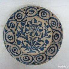 Antiquités: FUENTE EN CERÁMICA AZUL DE FAJALAUZA 28CM - GIRASOL - S.XIX. Lote 232134065
