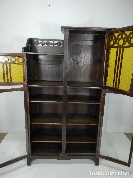 Antigüedades: Vitrina Art Noveau - Librería Modernista - Madera de Roble - Principios S. XX - Foto 6 - 232146300