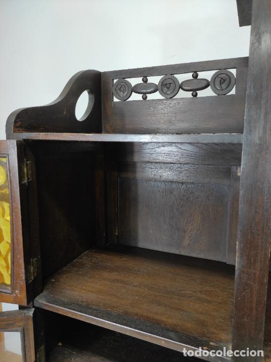 Antigüedades: Vitrina Art Noveau - Librería Modernista - Madera de Roble - Principios S. XX - Foto 8 - 232146300