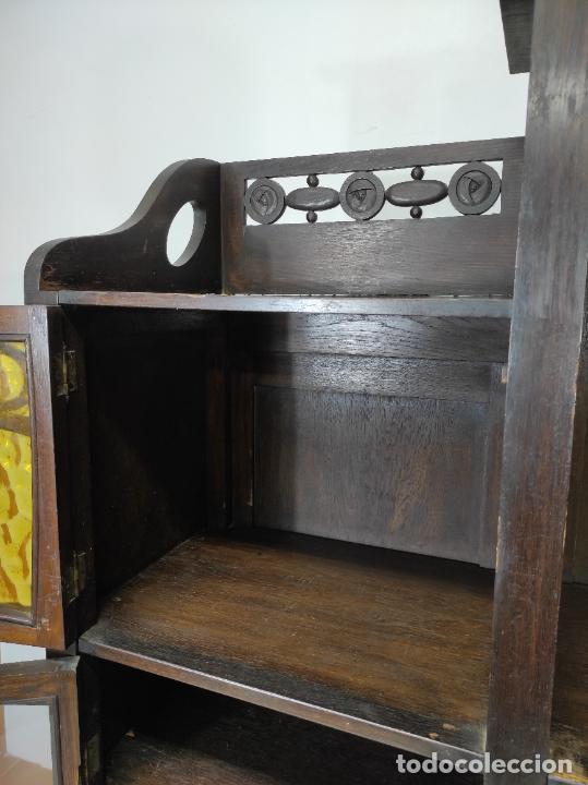 Antigüedades: Vitrina Art Noveau - Librería Modernista - Madera de Roble - Principios S. XX - Foto 12 - 232146300