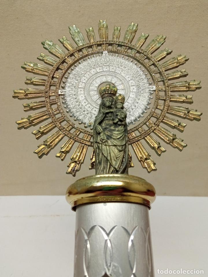 Antigüedades: 38 cm - Gran Virgen Nuestra Señora del Pilar en varios metales - espectacular - Foto 2 - 232219760