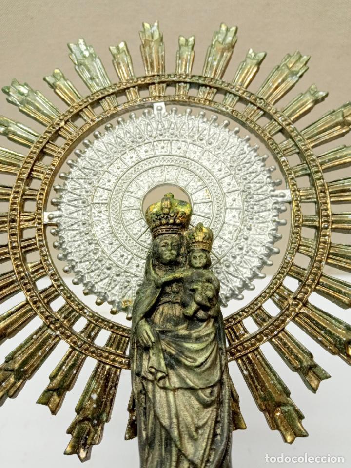 Antigüedades: 38 cm - Gran Virgen Nuestra Señora del Pilar en varios metales - espectacular - Foto 3 - 232219760