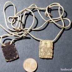 Antigüedades: ANTIGUO ESCAPULARIO DE TELA. VIRGEN CON NIÑO EN BRAZOS. Lote 232297290