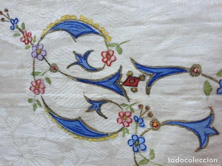 Antigüedades: Toalla de hilo adamascado de comunion - Foto 3 - 232335745