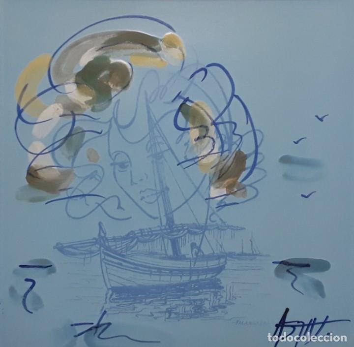 Antigüedades: JOAN ABRAS : placa terracota y cerámica. Mujer y Pesca de Palangre. Enmarcado..La Bisbal. - Foto 5 - 232344790