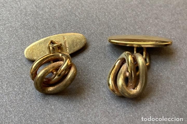 GEMELOS CHAPADO ORO, NUDO (Antigüedades - Moda - Gemelos Antiguos)