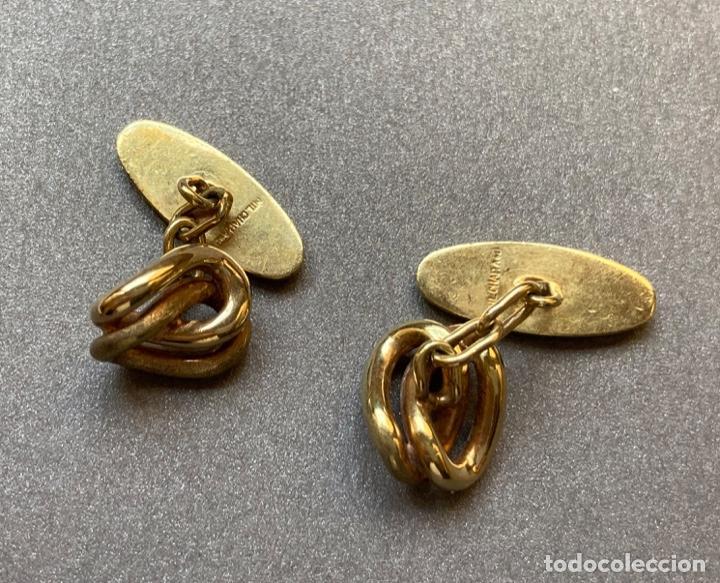 Antigüedades: Gemelos Chapado Oro, Nudo - Foto 3 - 232345185