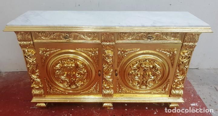 TAQUILLÓN RESTAURADO PAN DE ORO (Antigüedades - Muebles Antiguos - Consolas Antiguas)