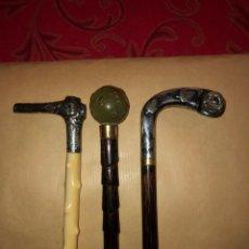Antigüedades: DOS MANGOS DE SOMBRILLA ,MARFIL Y PLATA. Lote 232512810
