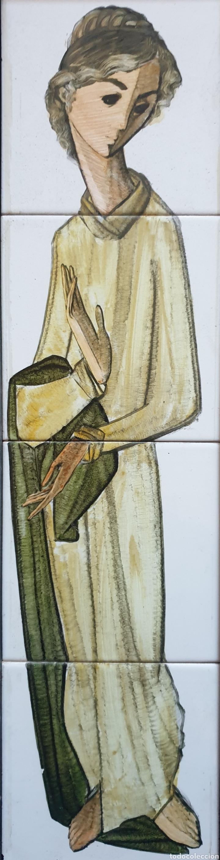 Antigüedades: Pedro Palenciano Ruiz - Jesús Adolescente/San Juan?.Retablo Cerámico.Firmado. - Foto 2 - 232512360