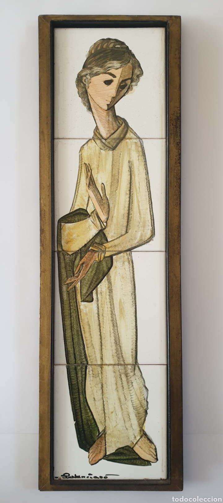 PEDRO PALENCIANO RUIZ - JESÚS ADOLESCENTE/SAN JUAN?.RETABLO CERÁMICO.FIRMADO. (Antigüedades - Porcelanas y Cerámicas - Triana)
