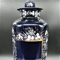 Antigüedades: IMPORTANTE BOTE DE FARMACIA- ALBARELOS- EN CRISTAL, VIDRIO DE LA GRANJA. S.XIX. Lote 232677100