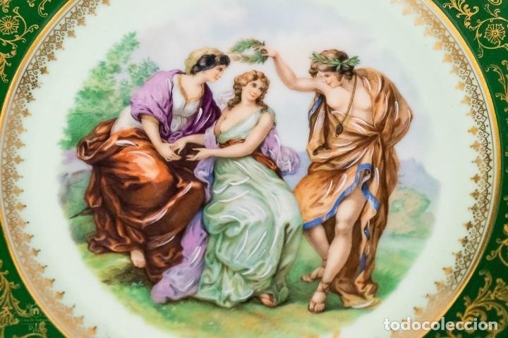 Antigüedades: Un plato porcelana Limoge muy bonito de porcelana antigua pintado a mano - Foto 2 - 232730305