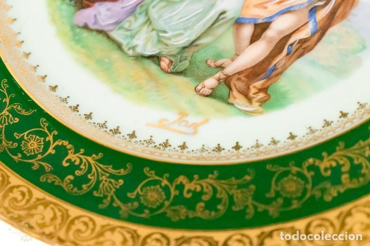 Antigüedades: Un plato porcelana Limoge muy bonito de porcelana antigua pintado a mano - Foto 3 - 232730305