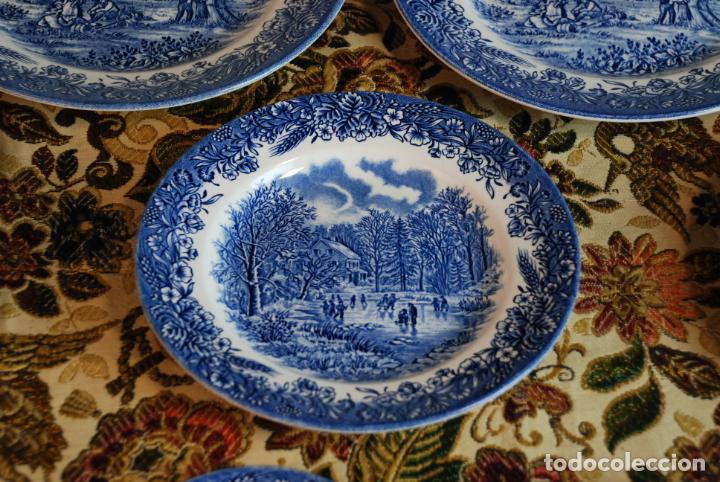 Antigüedades: Vajilla inglesa Churchill. 16 platos de tres tamaños. 24, 20 y 13 cm. Bella decoración. Siglo XX. - Foto 2 - 232761685