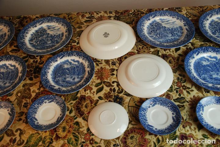 Antigüedades: Vajilla inglesa Churchill. 16 platos de tres tamaños. 24, 20 y 13 cm. Bella decoración. Siglo XX. - Foto 7 - 232761685